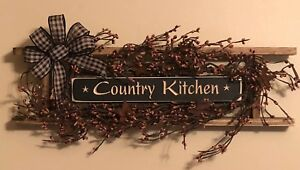 Primitive Decor Country Kitchen Ladder Black Tan Berries Rusty Stars