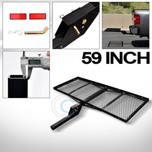 59 Black Mesh Folding Trailer Hitch Cargo Carrier Rack Tray For 2 Receiver C05