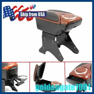 Us Walnut Wood Car Leather Console Storage Armrest Cup Holder Universal Fit