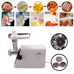 Electric Meat Grinder Stainless Steel Sausage Kubbe Attachment W 3 Blade 1300w