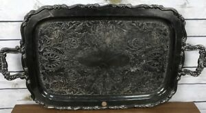 Large Oneida Silver Plate Serving Butler Tray Platter Georgian Scroll Tea Plate