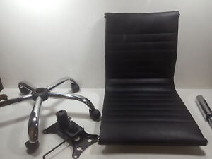 Winport Furniture Wf 5052l Mid back Leather Armless Office home Desk Chair Black