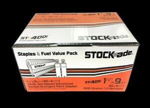 Stock ade St400i 1 1 2 9 gauge Barbed Staples 1000 box