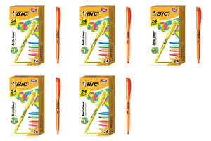 Bic Brite Liner Highlighter Chisel Tip Assorted Colors 24 count pack Of 5