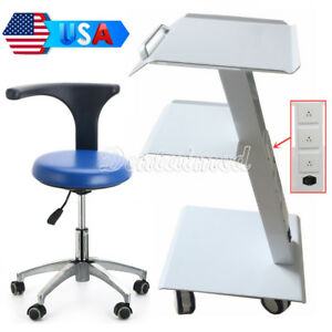 Medical Metal Mobile Tool Cart Trolley With Socket dentist Rotation Stool Chair