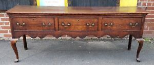 Antique English Oak 18th Century Queen Anne Sideboard Welsh Dresser Base