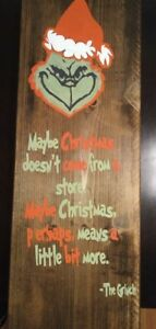 wood sign custom Christmas the Grinch hand painted. Custom made signs by reques