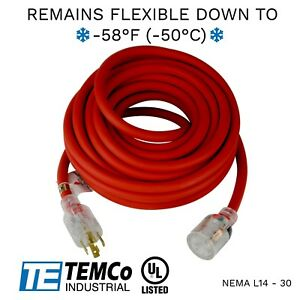 Temco 40ft Extreme Weather Generator Cord Red Nema L14 30 125 250v 30a Ul