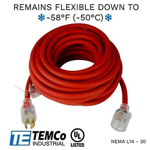 Temco 50ft Extreme Weather Generator Cord Red Nema L14 30 125 250v 30a Ul