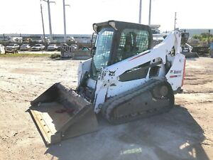 2015 Bobcat T590 Skid Steer Enclosed Cab Power Bobtach Gp Bucket