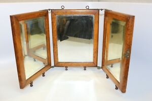 Antique Tri Fold Oak Mirror Vanity Stand Or Hang Up