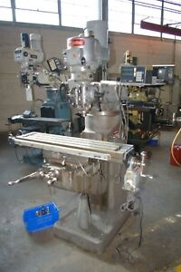 Bridgeport 1 1 2 Hp Vertical Ram Type Milling Machine 2 Axis Dro Power Table O