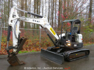 2013 Bobcat E50 Hydraulic Mini Excavator Aux Hyd Thumb Manual Q c 2 spd Bidadoo