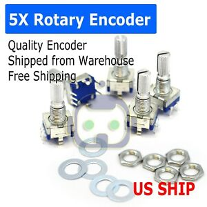 5x Ec 11 Rotary Encoder Digital Potentiometer 20mm Knurled Shaft With Switch Usa
