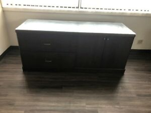 Credenza Desk Cherry Wood 2 Drawers And Open Cabinet Space