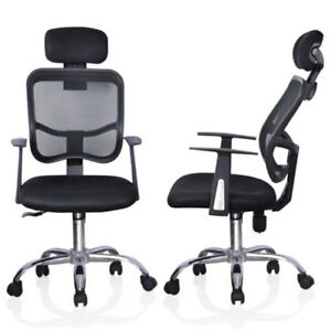 Mesh High Gas Lift Back Tilt Home Office Office Swivel Chair With Headrest Black