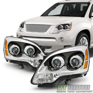 2007 2012 Gmc Acadia Headlights Headlamps W blue Lens Replacement Left right Set