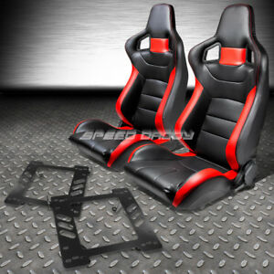 Black red Pvc Leather Sports Style Racing Seats bracket for 97 06 Jeep Wrangler