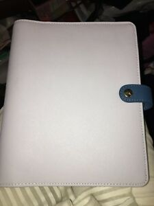 Kikki K Large Leather Personal Planner Grey blue Time Passion Planner Nwot