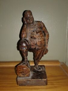 Vintage Hand Carved Wood Figurine Man Resting On Log 7 5in Tall 3 5in Wide