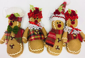 Set Of 4 Country Primitive Gingerbread Doll Christmas Ornaments Bowl Fillers