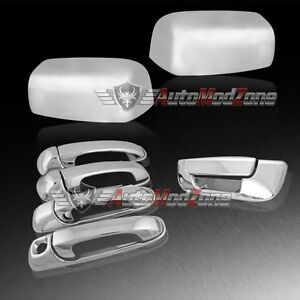 02 08 Dodge Ram Chrome 4 Door Handle Tailgate Upper Towing Mirror Cover Combo