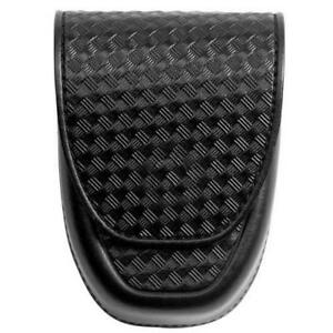 Asp 56132 Black Leather Basketweave Duty Handcuff Case For All Type Cuffs