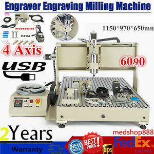 4 Axis 6090 Usb Cnc Router Engraver 3d Cutter Milling Cutting Machine Vfd 2 2kw