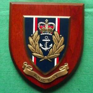 Old Vintage Hms Hand Painted Royal Navy Ship Badge Crest Shield Plaque