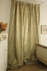 Silk Damask Curtains Green Gold French C1920 S Old Vintage Drapes Pair Textiles