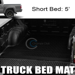 Black Rubber Diamond Truck Bed Trunk Floor Mat Carpet For 05 18 Tacoma 5 Ft Cab