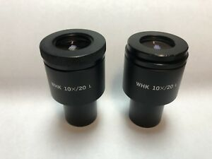 A Pair Of Olympus Whk 10x 20 L Wide Field Microscope Eyepieces 23mm