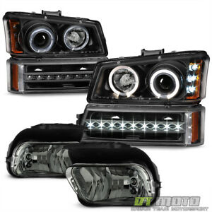 2003 2006 Chevy Silverado Black Led Halo Headlights Drl Bumper Smoke Fog Lights