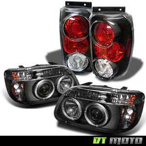 95 97 Ford Explorer Black 1 Piece Halo Projector Headlights Altezza Tail Lights