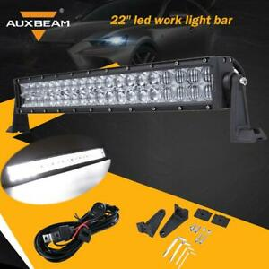 22inch Auxbeam 120w Cree Curved Led Work Light Bar Spot Flood Offroad Cable Kit