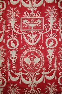 French Fabric Antique Red Toile Design Gray Stunning For Upholstery Pillows Etc