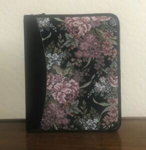 Classic Floral Tapestry Full Grain Leather Franklin Quest Covey Planner Binder