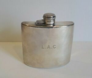 Antique English Yates E P N S Pocket Flask Monogram L A C