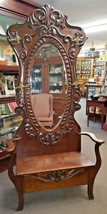 Old Antique Oak Hall Seat Tree Bench Large Beveled Oval Mirror Double Hooks