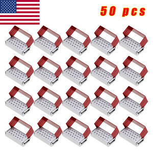 50x Dental Burs Holder Block Disinfection Box Aluminium Autoclave Metal Red Xdh
