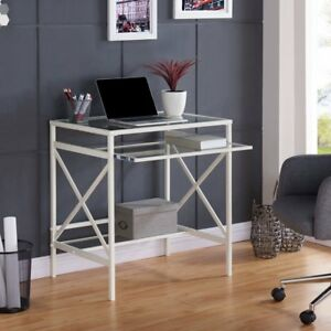 Southern Enterprises Elvan Metal glass Small space Desk White White
