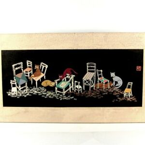 Antique Chinese Embroidery Cat Picture Appliqu Whimsical Sampler Signed Vintage