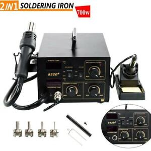 852d 2in1 Soldering Rework Stations Smd Hot Air Iron Gun Digital Display 110v