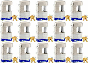 Lock Set By Master 37ka lot Of 15 Keyed Alike Shrouded Laminated Padlocks New