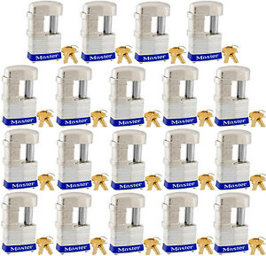 Lock Set By Master 37ka lot Of 19 Keyed Alike Shrouded Laminated Padlocks New