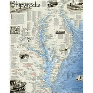 National Geographic Maps Shipwrecks Of The Delmarva Wall Map Laminated