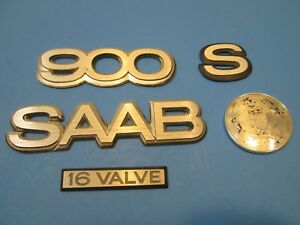 Emblem Set For Rear Trunk Lid Oem 94 Saab 900 S 16 Valve alloy