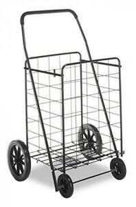 Grocery Shopping Cart Rolling Basket Heavy Duty Huge Wheel Tires Light Weight