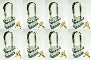 Lock Set By Master 5kalj lot Of 8 Keyed Alike Long Shackle Laminated Padlocks