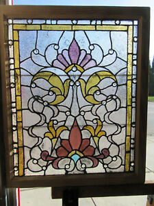 Antique American Stained Glass Window 34 Jewels 1 Of 2 33 X 39 Salvage